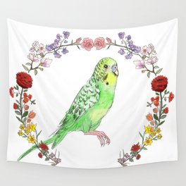 Parakeet in Green Wall Tapestry