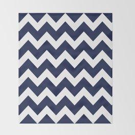 Navy Blue Chevron Minimal Throw Blanket