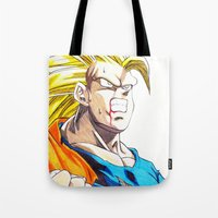 goku Tote Bags featuring GOKU SSJ3 by DeMoose_Art