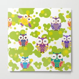 bright colorful owls and green leaves on white background Metal Print