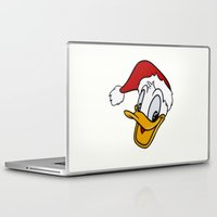 donald duck Laptop & iPad Skins featuring Christmas Donald Duck by Yuliya L