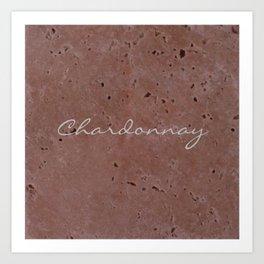 Chardonnay Wine Red Travertine - Rustic - Rustic Glam Art Print
