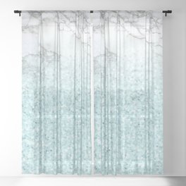 Pretty Turquoise Sparkles on Gray and White Marble Sheer Curtain