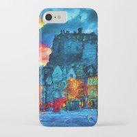 edinburgh iPhone & iPod Cases featuring Edinburgh Evening by E.M. Shafer