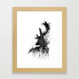 Deer Head Watercolor Silhouette - Black and White Framed Art Print