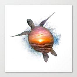 Turtle Sunset Watercolor Canvas Print