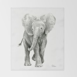 Baby Elephant Watercolor Throw Blanket