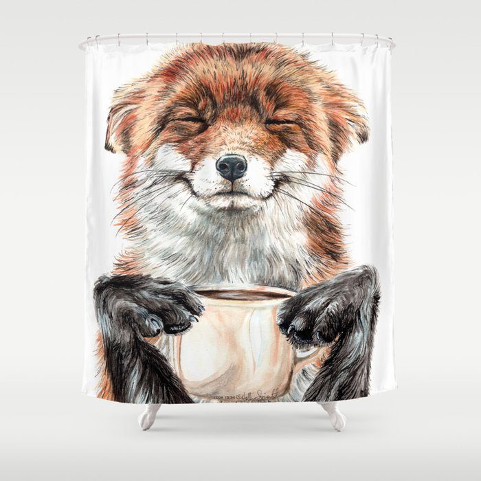 """ Morning fox "" Red fox with her morning coffee Shower Curtain"