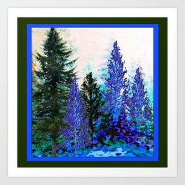 BLUE-GREEN MOUNTAIN FOREST LANDSCAPE Art Print