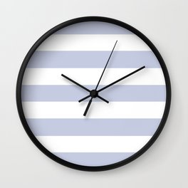 Light periwinkle - solid color - white stripes pattern Wall Clock