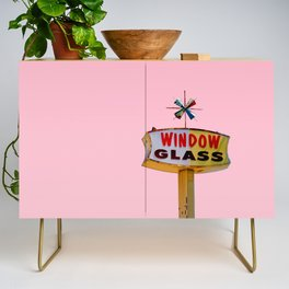 Atomic Pink Starburst - Vintage Googie-Style Sign with Pink Background Credenza