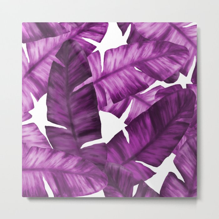 Pink Tropical Banana Leaves Pattern Metal Print