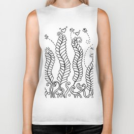 Doodle Art Vines Swaying in the Breeze – Black and White Biker Tank