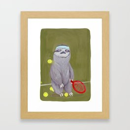 Sloths Are Bad At Things- Kevin the Tennis Star Framed Art Print