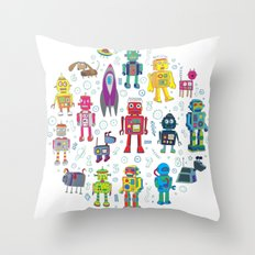 Robots in Space Throw Pillow