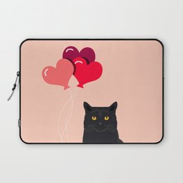 Black Cat Love balloons valentine gifts for cat lady cat people gifts ideas funny cat themed gifts Laptop Sleeve