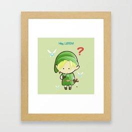 Hey Listen! Cute Link From Zelda Kawaii :) Framed Art Print