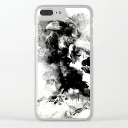 Watercolor Crow, Black and White Crow, Crow Painting, Cool Crow, Ink Crow Clear iPhone Case