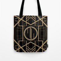 great gatsby Tote Bags featuring MJW- GREAT GATSBY STYLE by MATT WARING