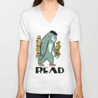 read V-neck T-shirts featuring READ by Zachariah  OHora