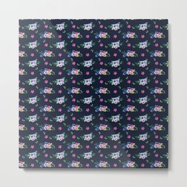 Tiny Flowers Ditsy Floral Navy Blue Metal Print