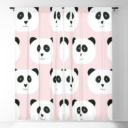 Panda Love -Pink Blackout Curtain