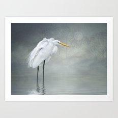 Egret in winter breeze Art Print
