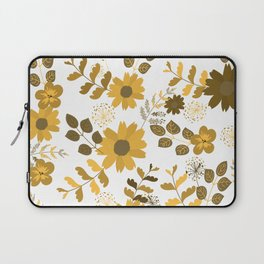 Big Yellow and Brown Flowers Laptop Sleeve