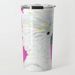 Watercolor Umbrella Cockatoo Strut Travel Mug