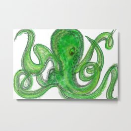 Green Octopus Metal Print