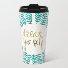 Treat Yo Self – Gold & Turquoise Metal Travel Mug