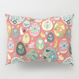 paper easter eggs and bunnies Pillow Sham