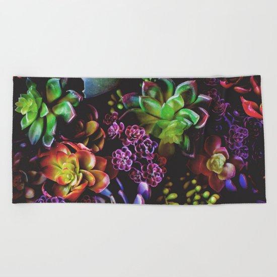 Colorful Succulent Plants Beach Towel