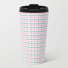 Gingham pink and forest green Travel Mug