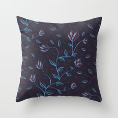 Abstract Glowing Blue Flowers Throw Pillow