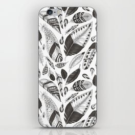 Black and white feathers pattern iPhone Skin