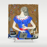 soviet Shower Curtains featuring Lady in a blue dress by Yuliya