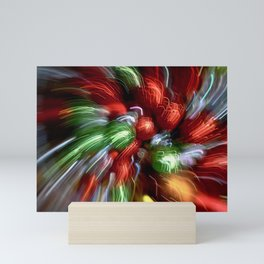 Abstract Red & Green Motion Blur Mini Art Print