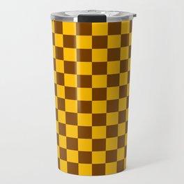 Amber Orange and Chocolate Brown Checkerboard Travel Mug