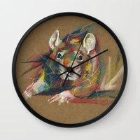 rat Wall Clocks featuring Rat by Anaïs Chesnoy