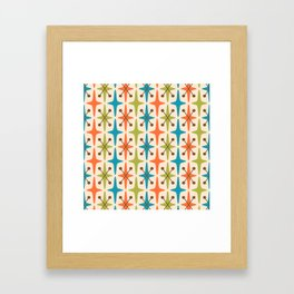 Mid Century Modern Abstract Star Pattern 441 Orange Brown Turquoise Chartreuse Framed Art Print