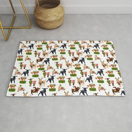 Christmas goats in sweaters repeating seamless pattern Rug