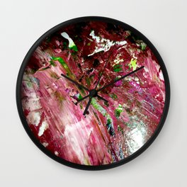 Pink and Green Abstract Paint Wall Clock