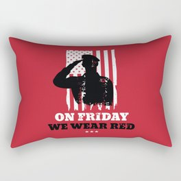 We Wear Red Friday American Flag Military Rectangular Pillow