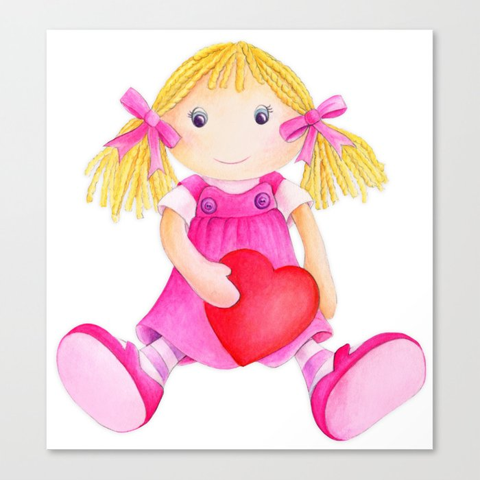 S Toy Rag Doll Watercolor Kids Nursery Art Pink Canvas Print