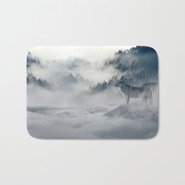 Wolves Among the Snowcapped Mountain Bath Mat
