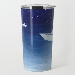 Paper boats illustration Travel Mug