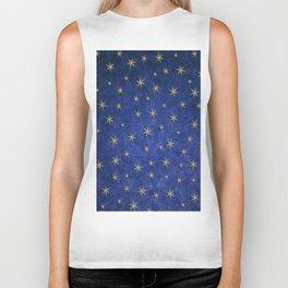 Christmas Starry Night Blue Design Pattern Biker Tank