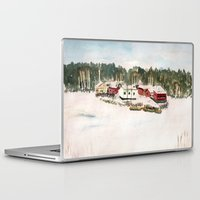 finland Laptop & iPad Skins featuring Finland village by Nadezhda Shoshina