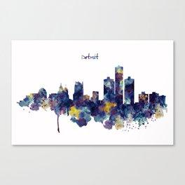 Detroit Skyline Silhouette Canvas Print